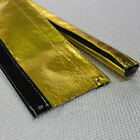12~133mm Gold Foil Heat Sleeve Insulating Hose Wrap Tube Reflective Shield 3Ft L