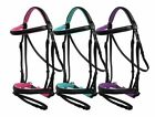Color Padded English Bridle Flash Cavesson Rubber Laced Leather Reins Free Ship!