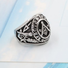 Men's Fashion Silver&Black Free-mason Masonic Stainless Steel Ring Biker Jewelry