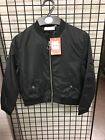 Girls Black Satin Bomber Jacket ex BHS Tammy Girl RRP £20