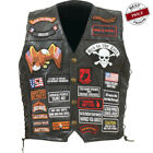 Rock Design Genuine Buffalo Leather Biker Vest with 42 Patches M - 3X