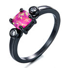 New Square Pink Fire Opal Black Gold Filled Ring Lady's Promise Jewelry Sz6-10
