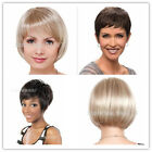 Women Lady Girl's Short Blonde Natural Straight Cosplay 50% Human Hair Full Wigs