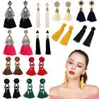 Women Bohemian Fashion Rhinestone Long Tassel Hook Fringe Dangle Drop Earrings