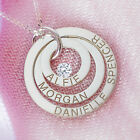 Sterling Silver Personalised Three Ring Family Pendant Necklace With Crystal