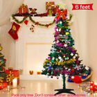 US STOCK-6Ft Artificial Pine PVC Christmas Tree+15 Ornament+2 Dolls Lights&Stand