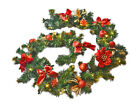 Pre Lit 2.7m Red Premier Fireplace Christmas Garland 9ft 40 Warm White Lights