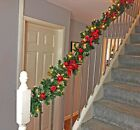 Pre Lit 2.7m Red Luxury Fireplace Christmas Garland 9ft 40 Warm White Lights