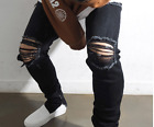 MEN JEANS ripped destroyed distressed designer straight DENIM PANTS TROUSERS