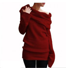 Womens Girls Off the Shoulder Loose Jumper Hoodie Sweater Pullover Cowlneck Tops