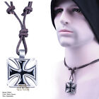 Mens Surf Leather Cord Necklace / Leather Choker Cross Pendant GMUS001A2