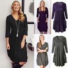 UK Womens V Neck Loose Pleated Pocket Baggy Ladies Casual Evening Party Dress