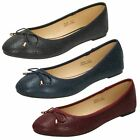 Spot On Ladies Bow Trim Ballerina Style Shoes