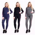 New Womens Ladies Side Stripe Tracksuit Jogger Loungwear Suit Top Bottom Trouser
