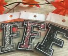Capital F Alphabet Letter Patch Rhinestones Sequin Embroidered Iron On Applique