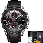 LIGE Full Steel Leather Band Business Chronograph Quartz Watch Luxury Waterproof