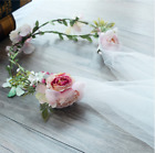 Gorgeous Bridal Flower Crown Wedding Veil Boho Wreath Fairy Queen Elf Headband