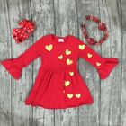 Girls Valentines Red Dress Gold Foil Hearts Necklace Bow 2T 3T 4T 5 6 7 NEW