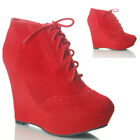 NEW WOMENS LADIES WEDGE HEEL SIDE ZIP RED WINTER ANKLE  BOOTS SIZE 8