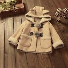 Baby Girls Winter Warm Jacket Hooded Leather Thicken Coat Outwear Outfit Clothes