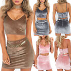 Women Sexy Casual Velvet Sling Crop Top Mini Dress Party Skirt Two-piece Set FO