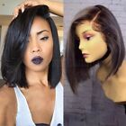 100% Remy Human Hair Wig Bob Style Lace Front Wig Pre Plucked Natural Hairline &