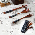 Portable Lunch Tableware Set Natural Wooden Fork Spoon Chopsticks Cutlery Sets