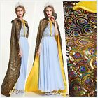 Peacock Scales Sequin Cloak Coat 71 Satin Poncho Cape Bridal Pageant Party W58