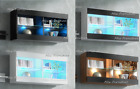 Wall Display cabinet Shelves Cupboard Storage Living Room Free LED + Shelf