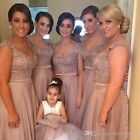 Sliver Bridesmaid Dress Long Chiffon Wedding Party Evening Prom Gown Plus 6-30 W