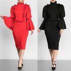 Womens long flare sleeves bodycon ruffled club party cocktail evening dress