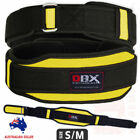 Weight Lifting Fitness Belt Body Building Double Support Neoprene Yellow - S/M