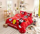 Red Color Mickey Mouse Comforter Bed Sheet Duvet Cover Full Queen Twin Single