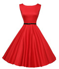 Vintage 50s Swing Flared Dress Hepburn Style Solid Color Evening Party Dress