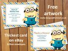 Personalised Minion Birthday Party Invitations / Thank You Cards Notes