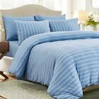 PURE ERA Duvet Cover Set Cotton Jersey Knit Ultra Soft Comfy Striped Bedding image