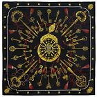 Classic Authentic Hermes Silk Scarf LES CLES Black Cathy Latham