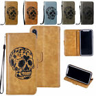 Skull Pattern PU Leather Wallet Case Stand Flip Cover Slot for Apple iPhone X 10
