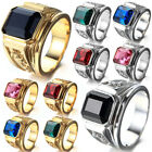 Fashion Mens Gold Plated Multicolor Square Crystal Jewelry Signet Silver Ring