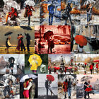 40x50cm DIY Rain Scenery Paint By Number Kit Oil Artist Painting Wall Home Decor