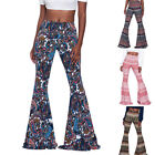 Spring Women's High Waist Stretch Bell Bottoms Flared Long Pants Hippie Trousers