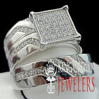 REAL STERLING SILVER HIS & HER 14K WHITE GOLD FINISH WEDDING TRIO RINGS BAND SET