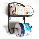 Wall Mounted Toilet Paper Roll Holder Bathroom Organiser wit