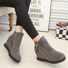 Women Winter Warm Increased Zip Snow Boots Suede Flat Shoes Short Ankle Boots