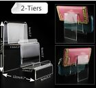 """3.1"""" Width 2-Tiers Acrylic Retail Display Stand Case Wallet Holder Easel Jewel"""