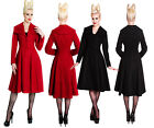 HELL BUNNY COLEEN 1950s VINTAGE BLACK & RED XL 14 16 chic FAUX SUEDE COAT 50s