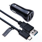 Double Port USB in Car Charger for Phone 12V 2.4A Adaptor + Type C Cable Cord