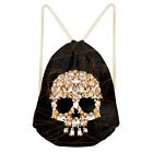 Cool Butterfly Skull Print Drawstring Bags Shopping Pouch Causal Picnic Storage