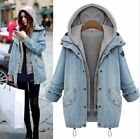 womens long winter coats - Women Winter Warm Collar Hooded Long Coat Jacket  Denim Trench Parka Outwear Hot