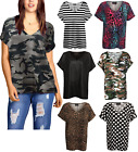 WOMENS LADIES BAGGY V NECK TURN UP SHORT SLEEVE LOOSE PRINTED TOP T SHIRT 8-18